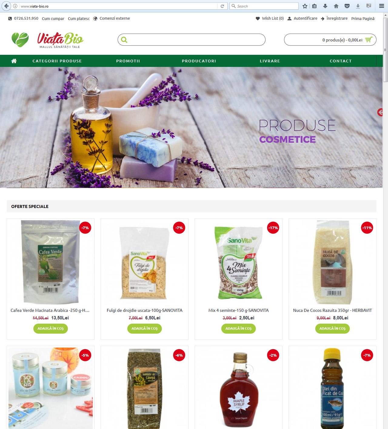 Creare magazin online Viata-bio.ro-1